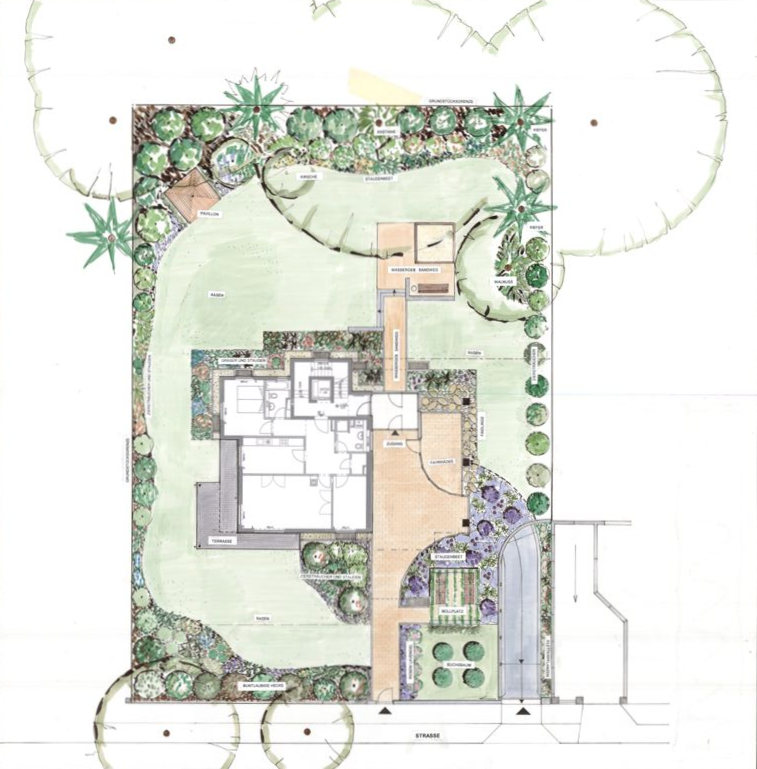 Gartenarchitekturklettnig projekte privatg rten und wohnanlagen - Gartengestaltung grundriss ...